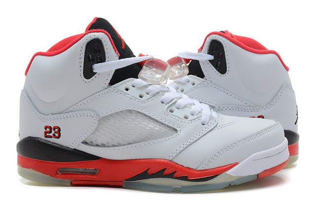 WMS Jordan 5 Shoes White/Red